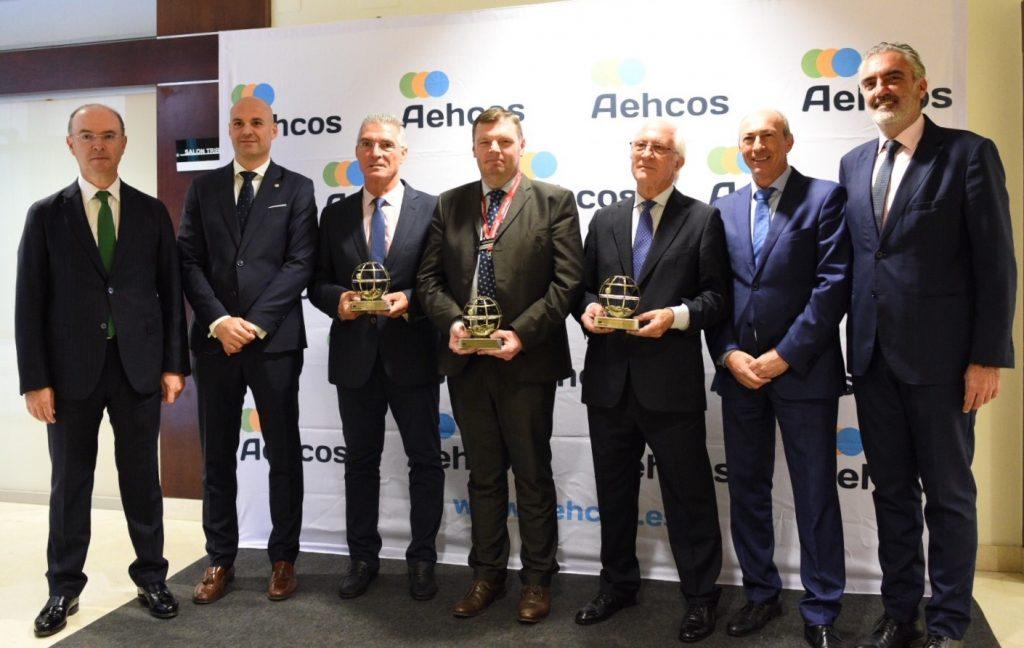 XII Premios AEHCOS Pie de Foto de Izquierda a derecha: José Manuel Alba, Leonardo Fernández, Manolo Sarria, Luis Callejón, Steven Boyle y Andrés Herrero Salguero